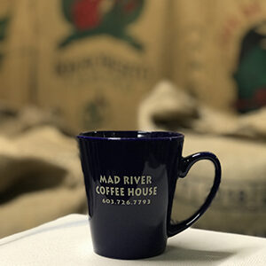 Mad River Coffee House blue ceramic mug