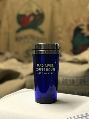 Mad River Coffee House blue travel mug