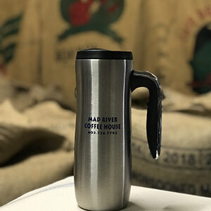 Mad River Coffee House silver travel mug