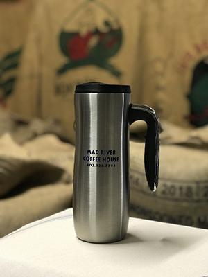 Mad River Coffee House silver travel mug
